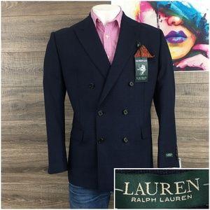 Ralph Lauren Mens Double Breasted Blue Sport Coat
